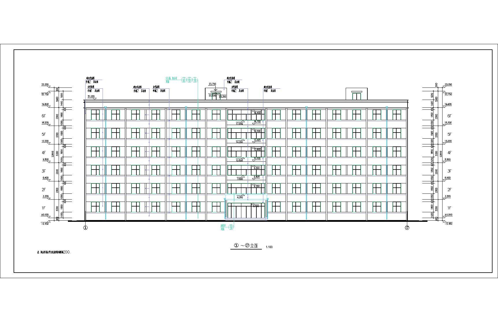 宿舍楼建筑图纸_6层砖混宿舍楼